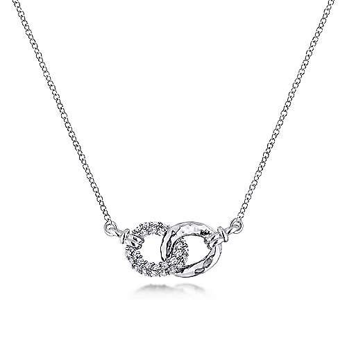 925 Sterling Silver and White Sapphire Interlocking Links Necklace