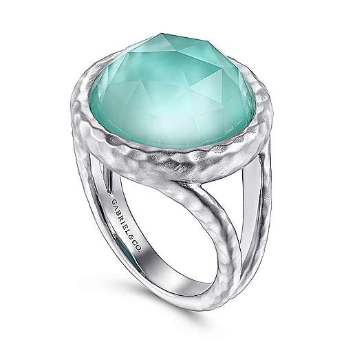 925 Sterling Silver with Round Rock Crystal/White MOP/Green Onyx Stone