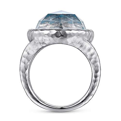 925 Sterling Silver with Round Rock Crystal and White Mother of Pearl and Turquoise Leverback Ring