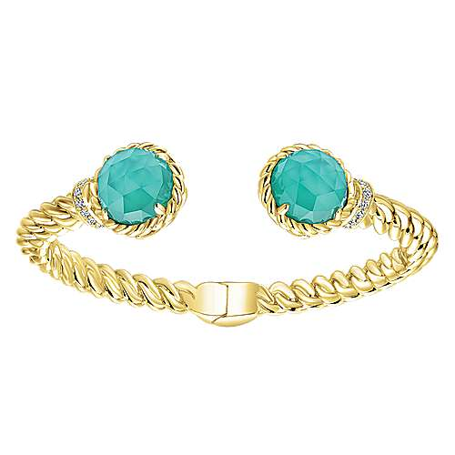925 Yellow Plated Silver Multi Color Bangle