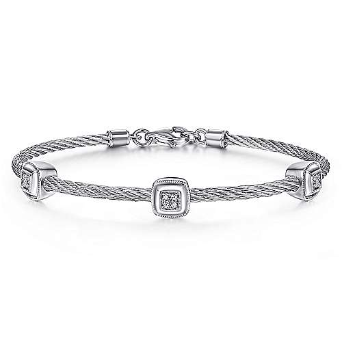 926 Silver and Stainless Steel Twisted Cable Bangle with 3 Square Cluster Diamond Stations