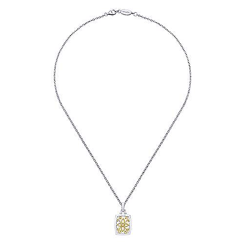 926 Sterling Silver-18K Yellow Gold Oval Filigree Diamond Pendant Necklace