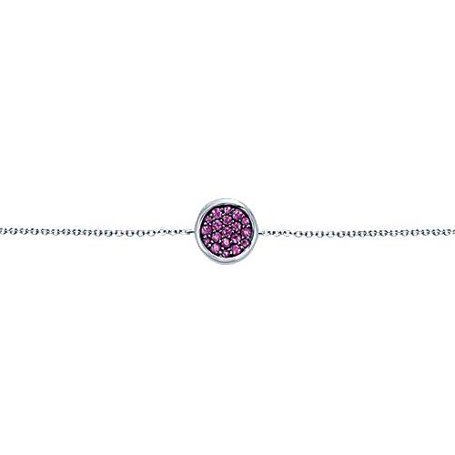 926 Sterling Silver Chain Bracelet with Round Amethyst Stones Station