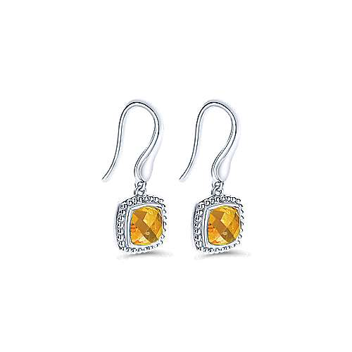 926 Sterling Silver Earrings with Cushion Cut Citrine Drops