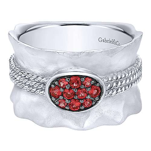 926 Sterling Silver Wide Hammered  Ring with Ruby Stone Cluster