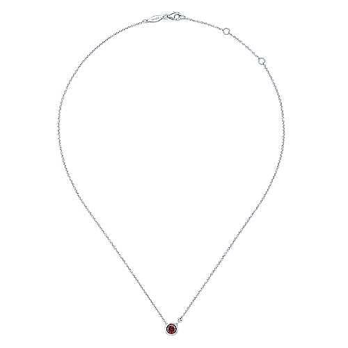927 Sterling Silver Bezel Set Garnet and Diamond Necklace