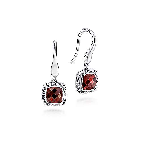 927 Sterling Silver Earrings with Cushion Cut Garnet Drops