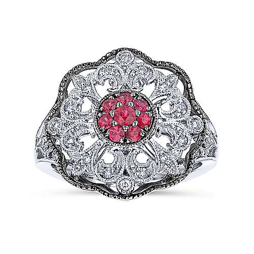 927 Sterling Silver Vintage Inspired Ruby and White Sapphire Ring