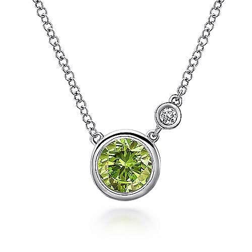 928 Sterling Silver Bezel Set Peridot and Diamond Necklace
