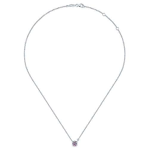 929 Sterling Silver Bezel Set Pink Created Zircon and Diamond Necklace