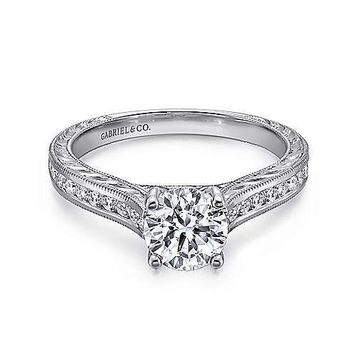 Abby 14k White Gold Round Straight Engagement Ring angle 1