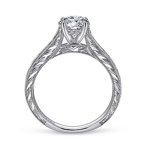 Abby 14k White Gold Round Straight Engagement Ring angle 2