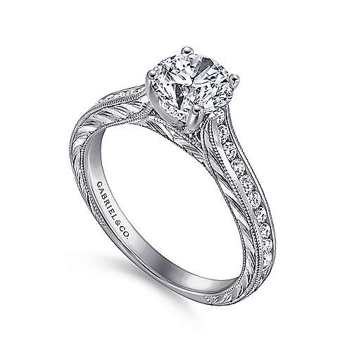 Abby 14k White Gold Round Straight Engagement Ring angle 3