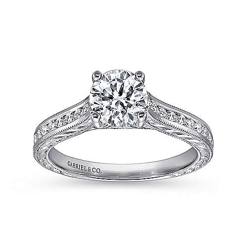 Abby 14k White Gold Round Straight Engagement Ring angle 5