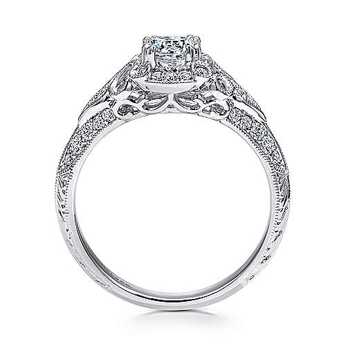 Abel 14k White Gold Round Halo Engagement Ring angle 2