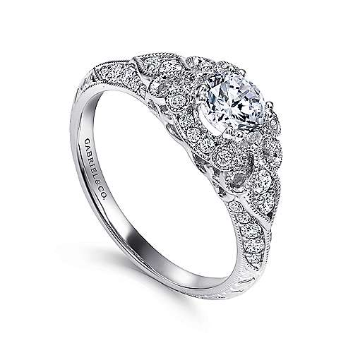 Abel 14k White Gold Round Halo Engagement Ring angle 3