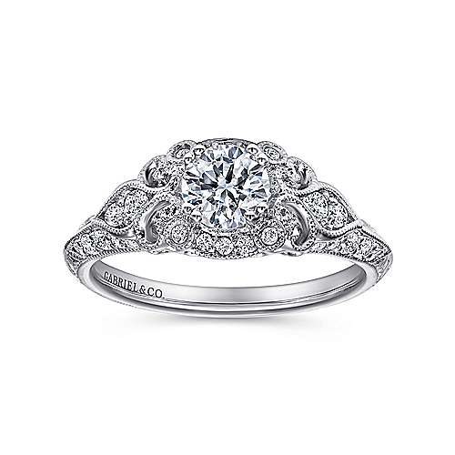 Abel 14k White Gold Round Halo Engagement Ring angle 5