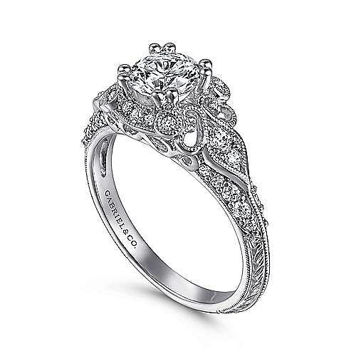 Abel 14k White Gold Round Halo Engagement Ring