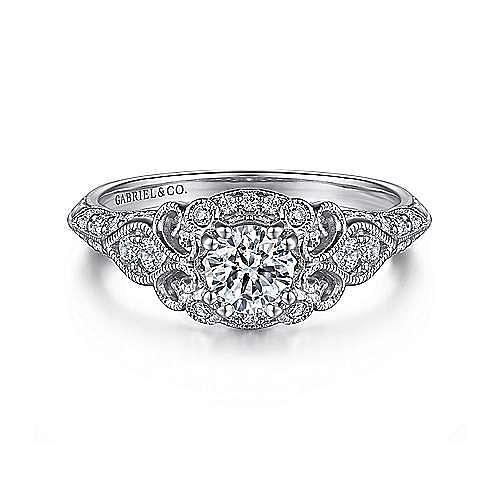 Abel 14k White Gold Round Halo Engagement Ring angle 1