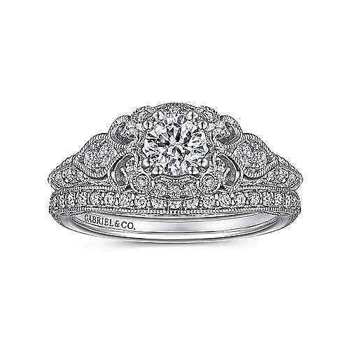Abel 14k White Gold Round Halo Engagement Ring angle 4