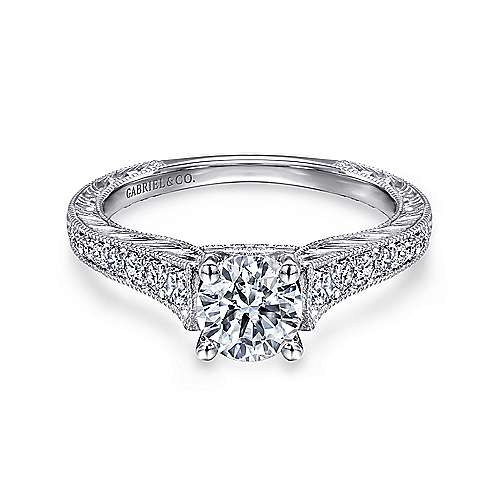 Gabriel - Abigail 14k White Gold Round Straight Engagement Ring