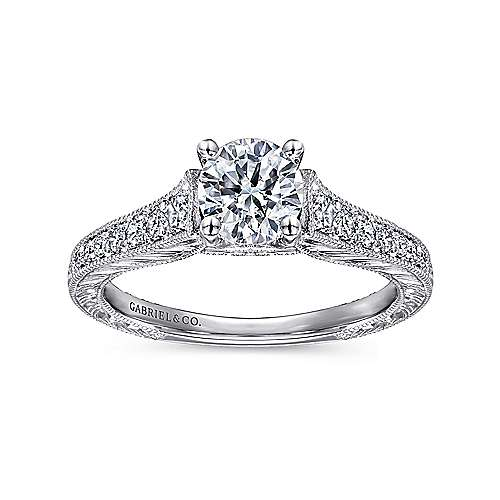 Abigail 14k White Gold Round Straight Engagement Ring angle 5