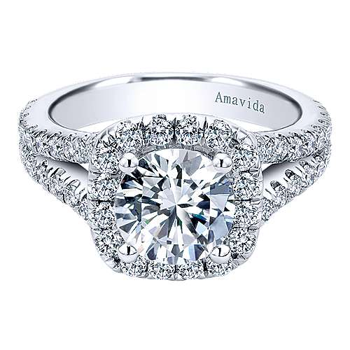 Absolute 18k White Gold Round Halo Engagement Ring angle 1