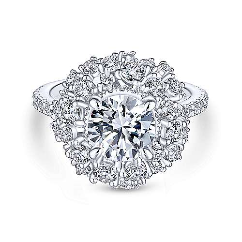Ace 18k White Gold Round Halo Engagement Ring angle 1