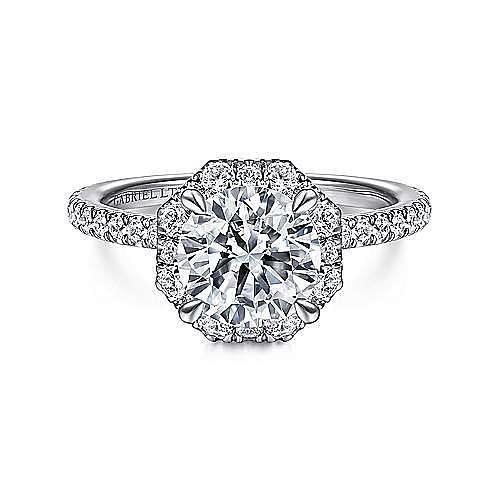 Gabriel - Adagio 18k White Gold Round Halo Engagement Ring