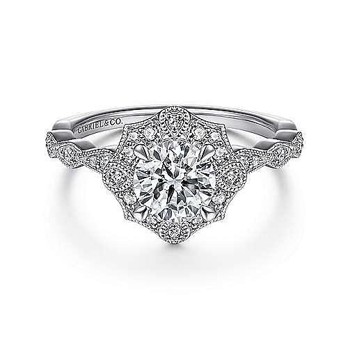 Gabriel - Adaline 14k White Gold Round Halo Engagement Ring