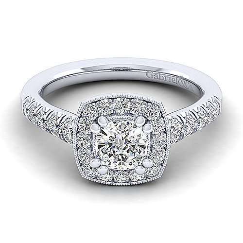 Gabriel - Addison 14k White Gold Cushion Cut Halo Engagement Ring