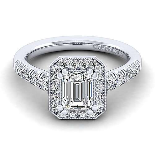 Gabriel - Addison 14k White Gold Emerald Cut Halo Engagement Ring