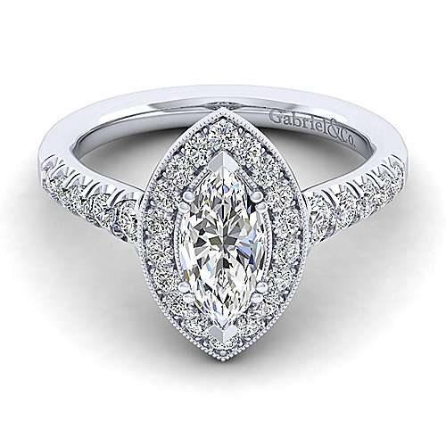Gabriel - Addison 14k White Gold Marquise  Halo Engagement Ring