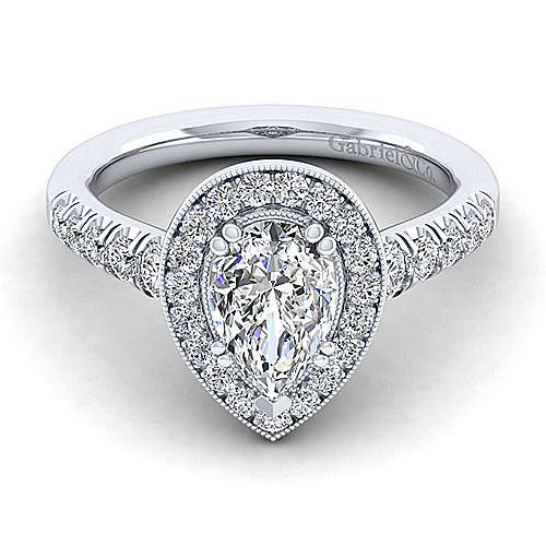 Gabriel - Addison 14k White Gold Pear Shape Halo Engagement Ring