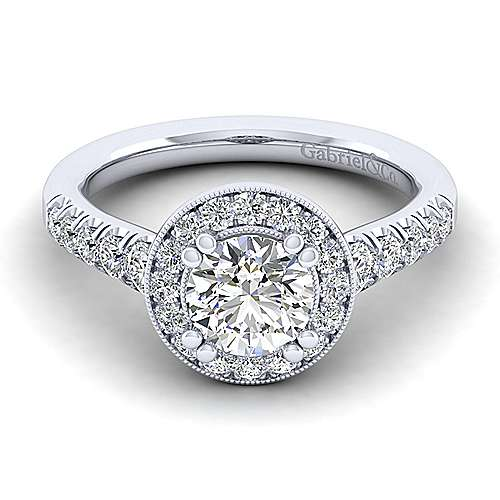 Gabriel - Addison 14k White Gold Round Halo Engagement Ring