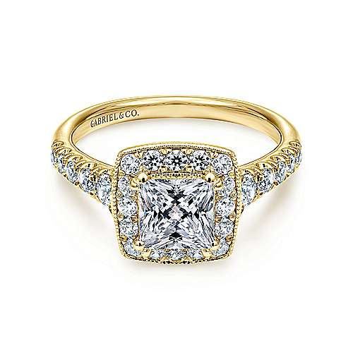 Addison 14k Yellow Gold Princess Cut Halo Engagement Ring angle 1