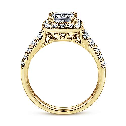 Addison 14k Yellow Gold Princess Cut Halo Engagement Ring angle 2
