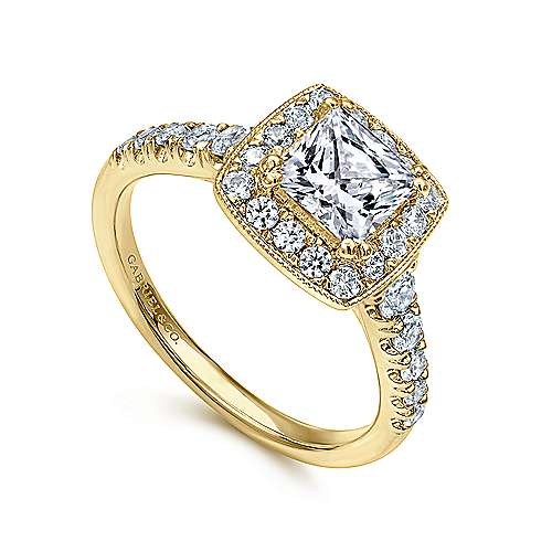 Addison 14k Yellow Gold Princess Cut Halo Engagement Ring angle 3