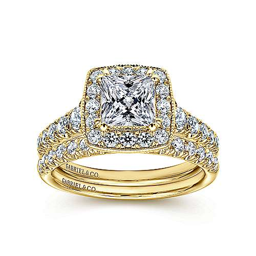 Addison 14k Yellow Gold Princess Cut Halo Engagement Ring angle 4