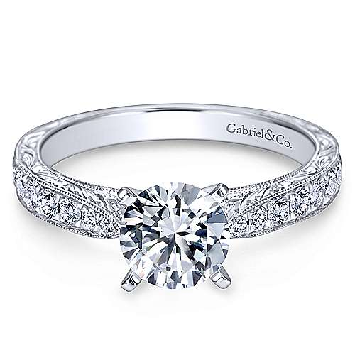 Addy 14k White Gold Round Straight Engagement Ring angle 1
