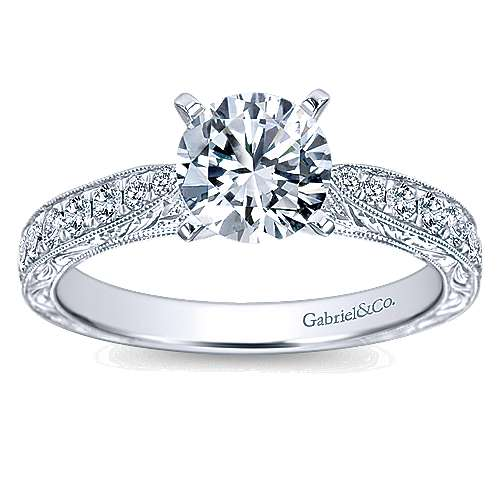 Addy 14k White Gold Round Straight Engagement Ring angle 5
