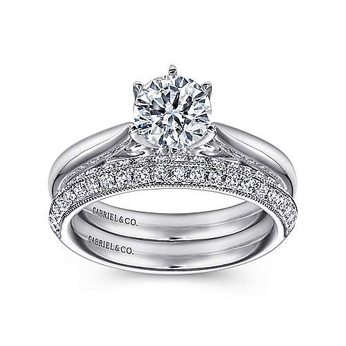 Adela 18k White Gold Round Solitaire Engagement Ring angle 4