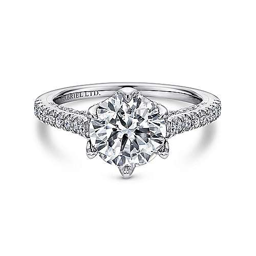 Gabriel - Adelaide 18k White Gold Round Straight Engagement Ring