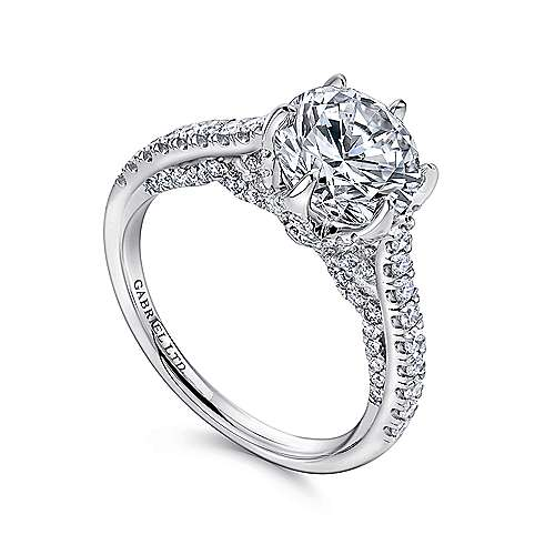 Adelaide 18k White Gold Round Straight Engagement Ring angle 3