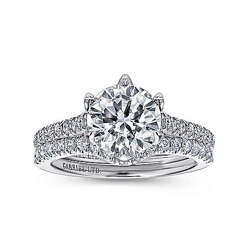 Adelaide 18k White Gold Round Straight Engagement Ring angle 4