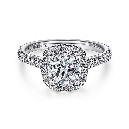Adele 18k White Gold Round Halo Engagement Ring angle 1