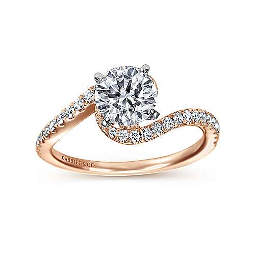 Adina 14k White And Rose Gold Round Bypass Engagement Ring angle 5
