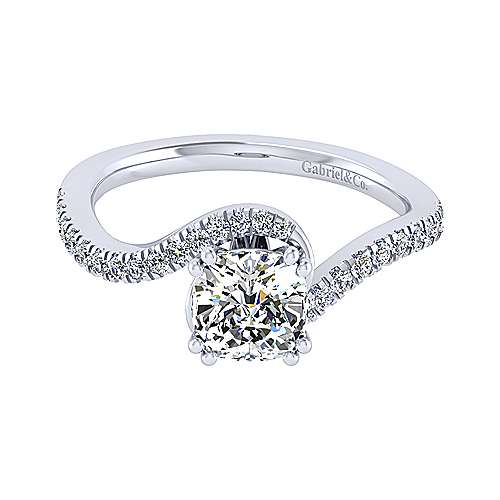 Gabriel - Adina 14k White Gold Cushion Cut Bypass Engagement Ring
