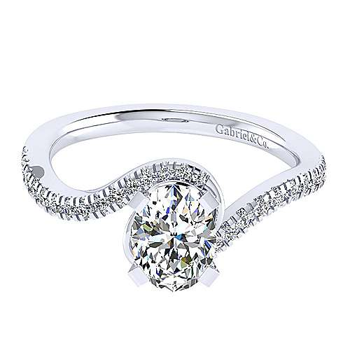 Gabriel - Adina 14k White Gold Oval Bypass Engagement Ring