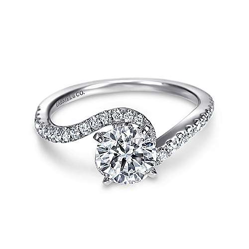 Gabriel - Adina 14k White Gold Round Bypass Engagement Ring